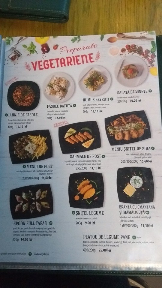 Romanian restaurant menu