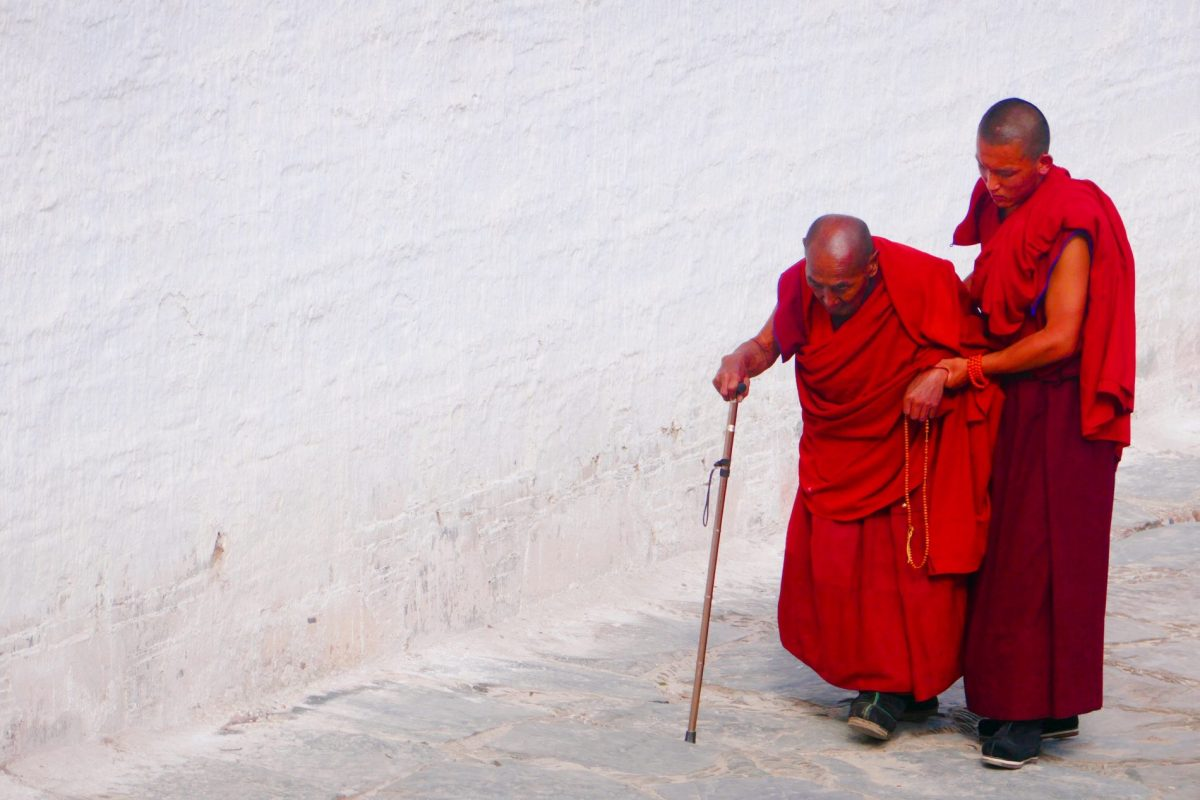 monks at Labrang Tibetan Monastery in China