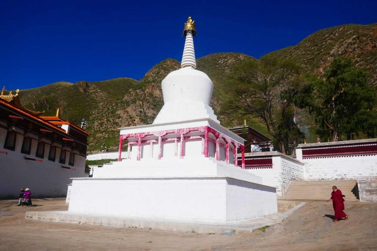 A large stupa inside the Labrang Monastery