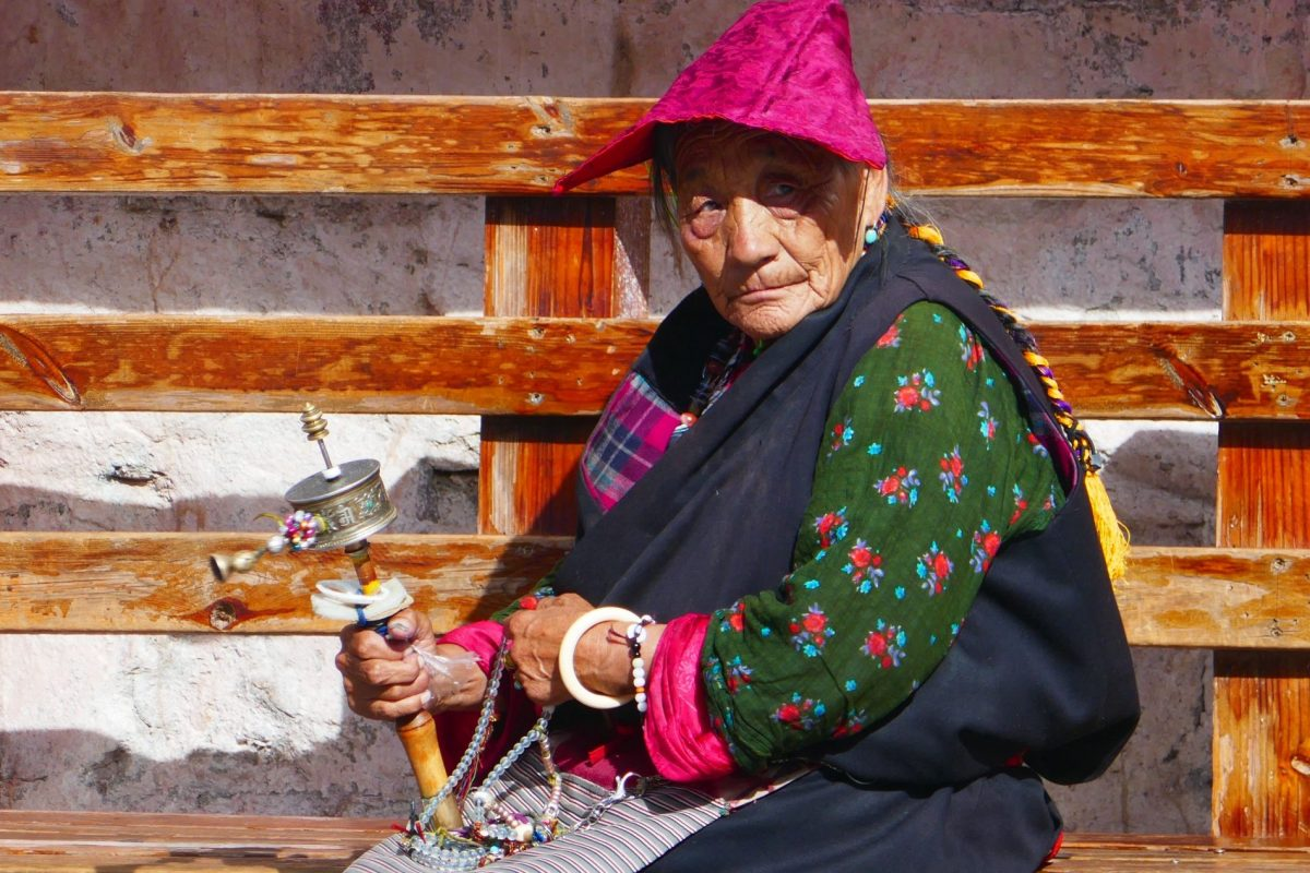 A pilgrim on Barkhor Street in Tibet Lhasa