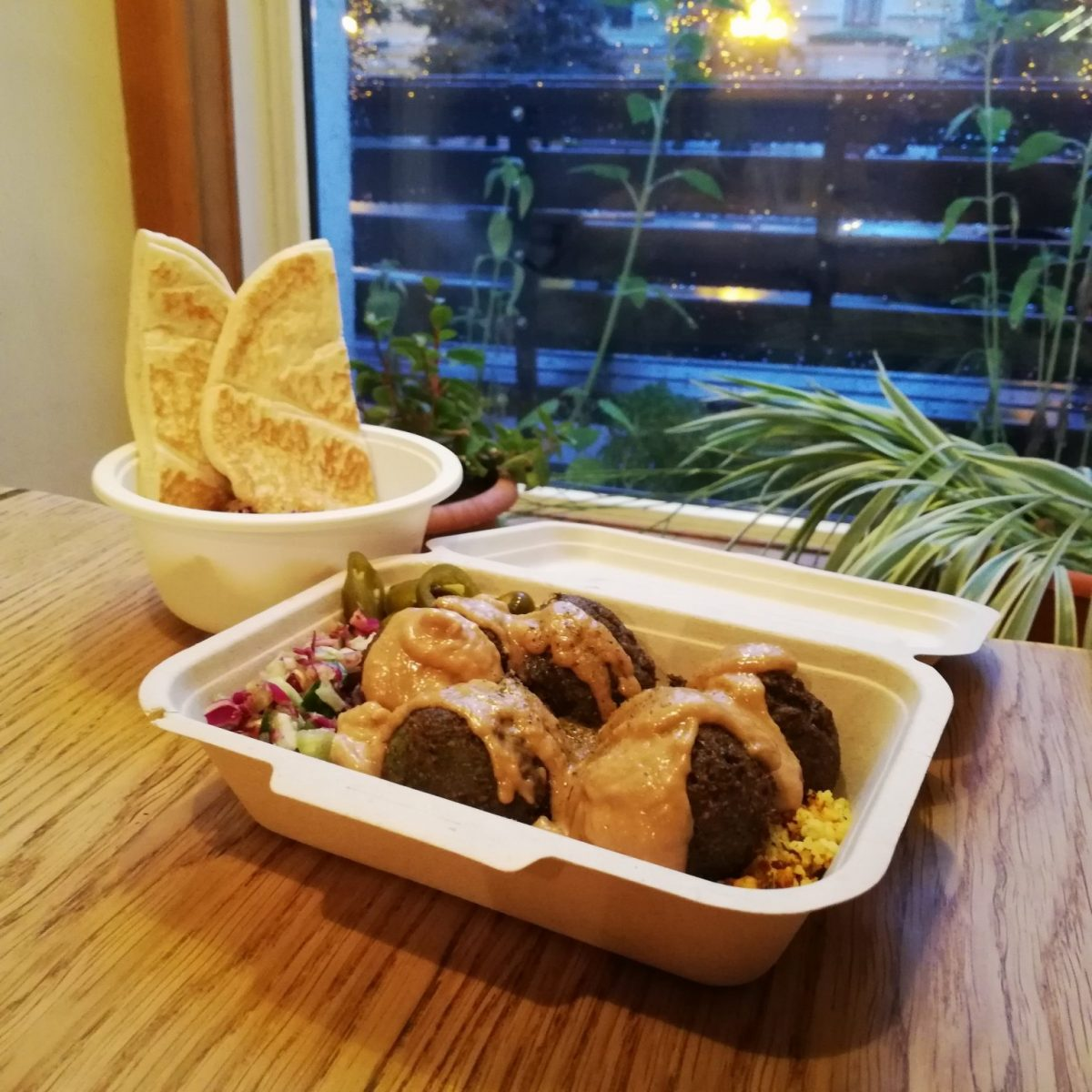 Falafel and hummus are pretty common vegan foods in Russia
