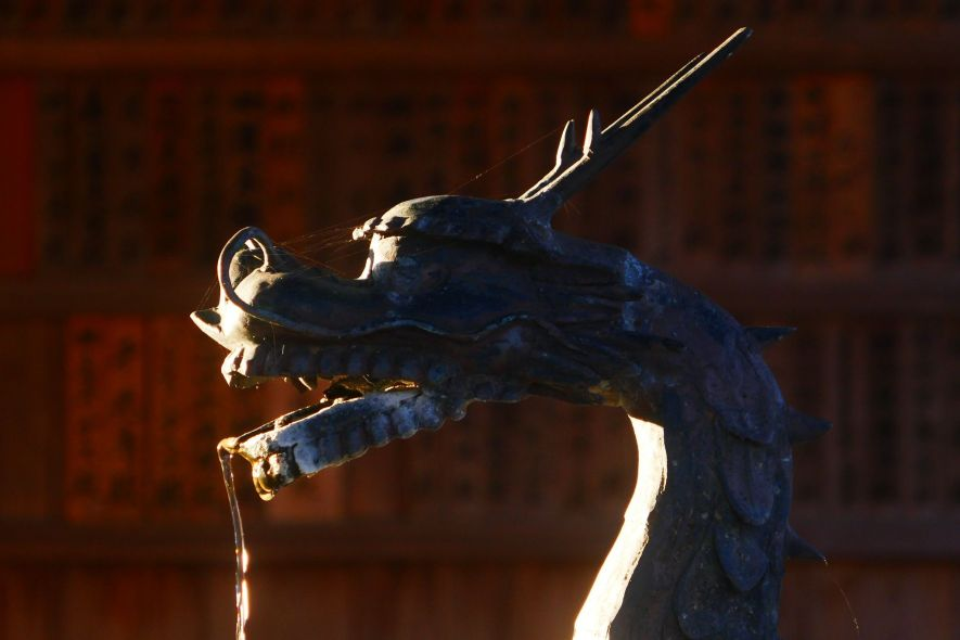 Dragon-shaped fountain at Shinto shrine in Japan