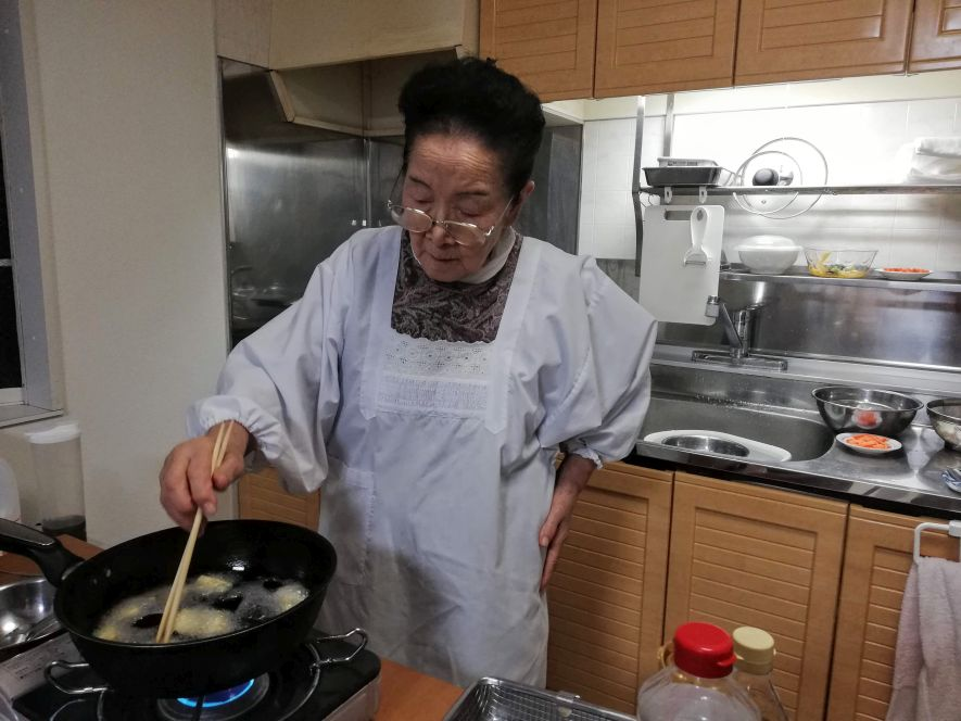Japanese woman cooking