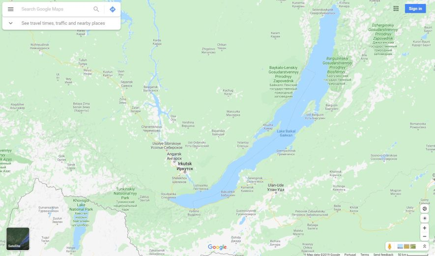 Lake Khuvsgul and Lake Baikal map