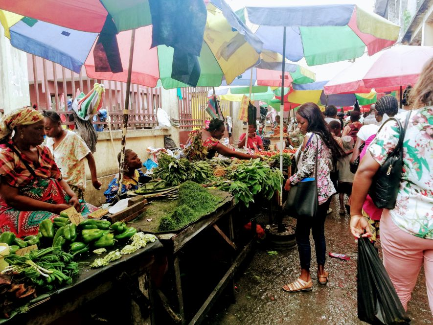 Stalls selling vegetables at Marché Total
