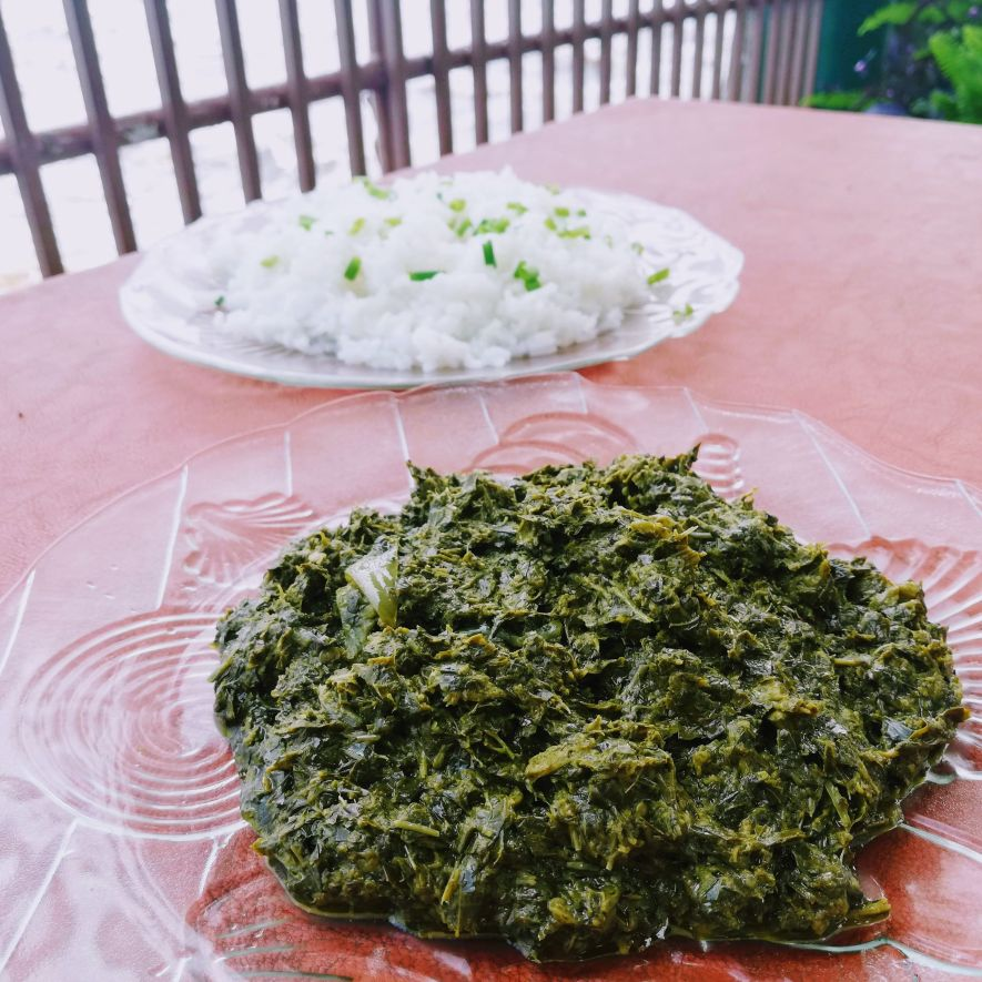 Saka-saka served with rice