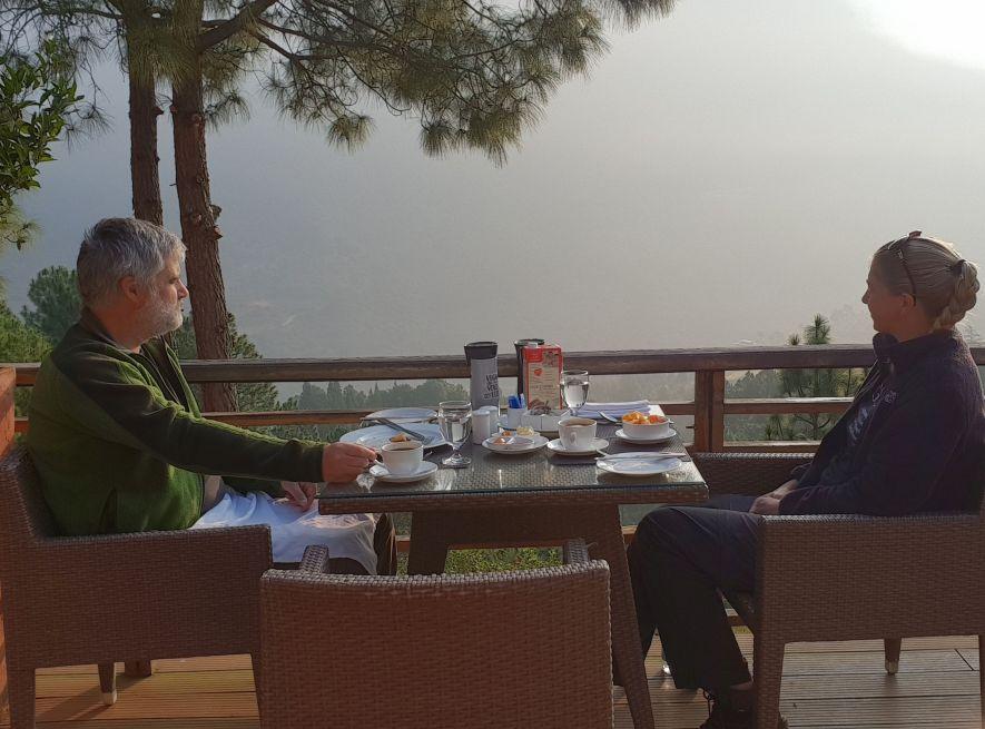 Hotel terrace breakfast