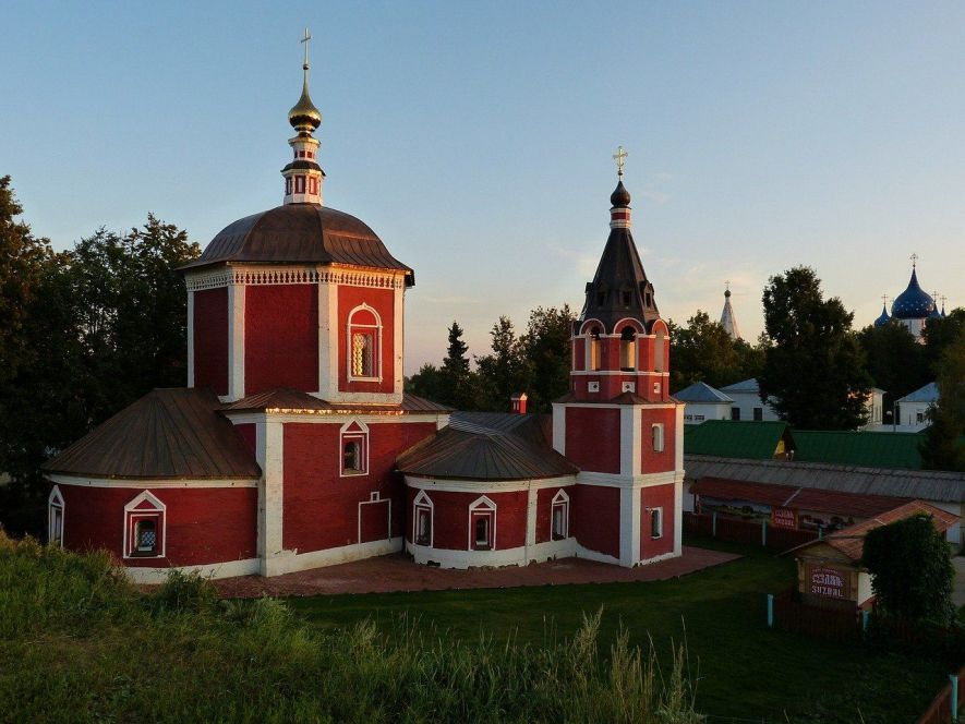 The brightly painted Uspenskaya Church in Suzdal Russia