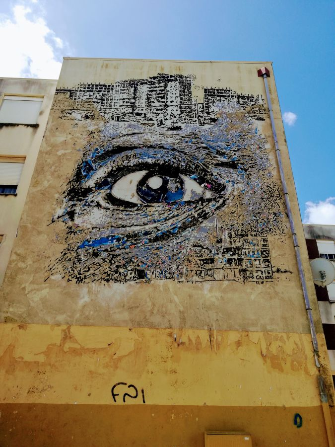 Street art by Vhils in Quinta do Mocho