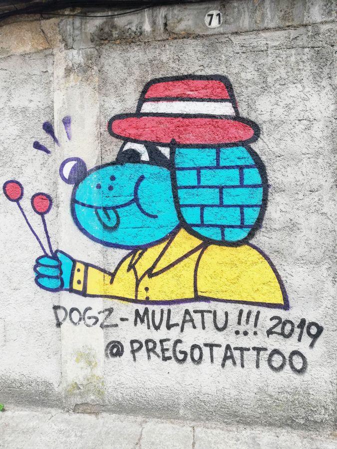 Street art featuring a blue dog