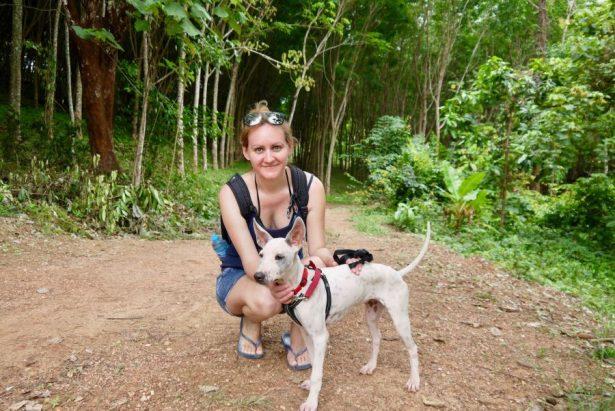 Walking a rescue dog
