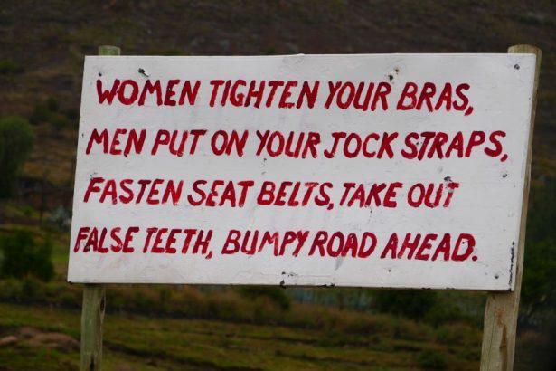 Malealea lodge funny sign