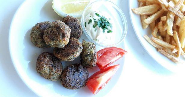 Traditional meat-less balls KOLOKITHOKEFTEDES