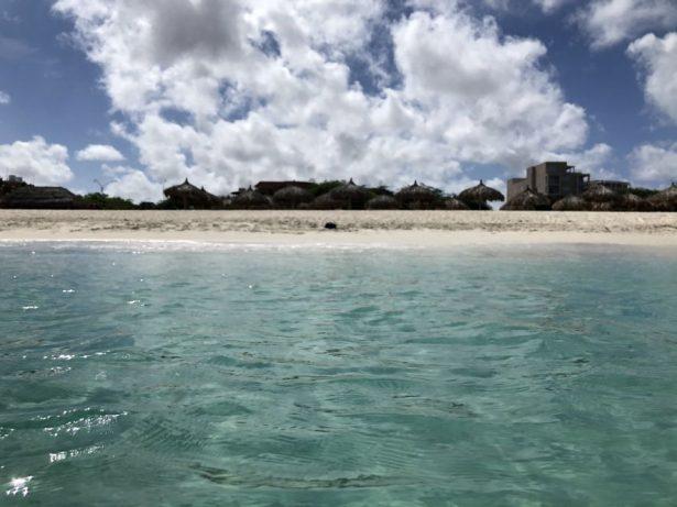 Aruba's bright blue waters at Eagle beach.
