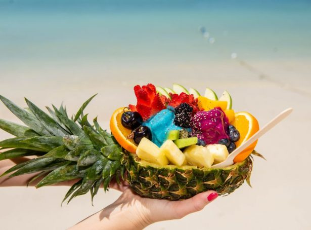 Aruba beach fruit in a pineapple