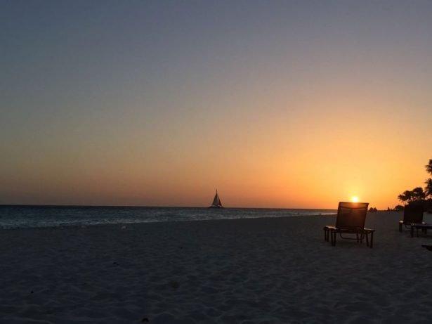 Aruba Divi Divi beach sunset.