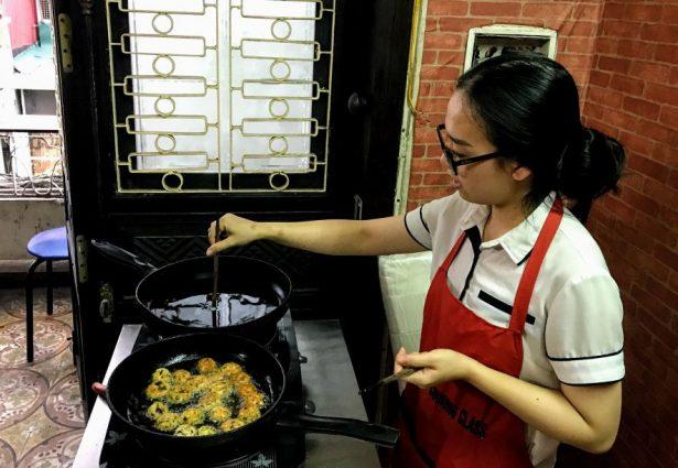 Cooking tofu balls at vegan cookery class in Hanoi Vietnam
