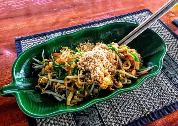 Pad thai at vegan cookery class in Koh Chang